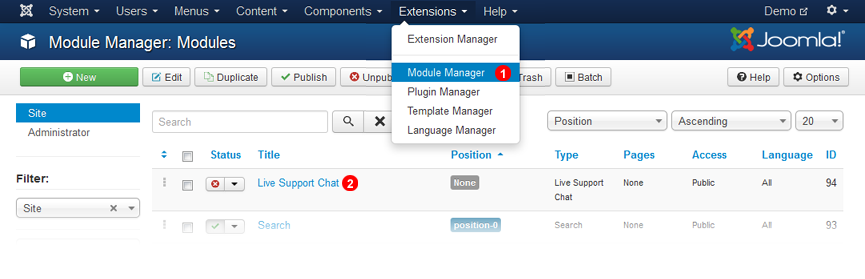 Joomla 3 Enable Chat Module