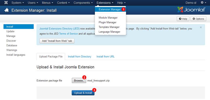 Joomla 3 Install Chat Module