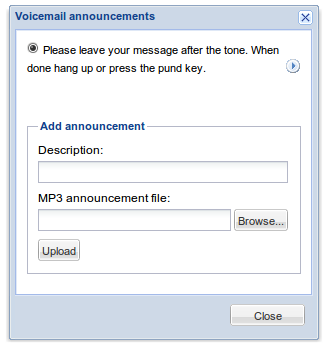 Voicemail announcements