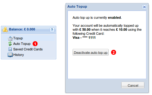 Deactivate auto Top Up