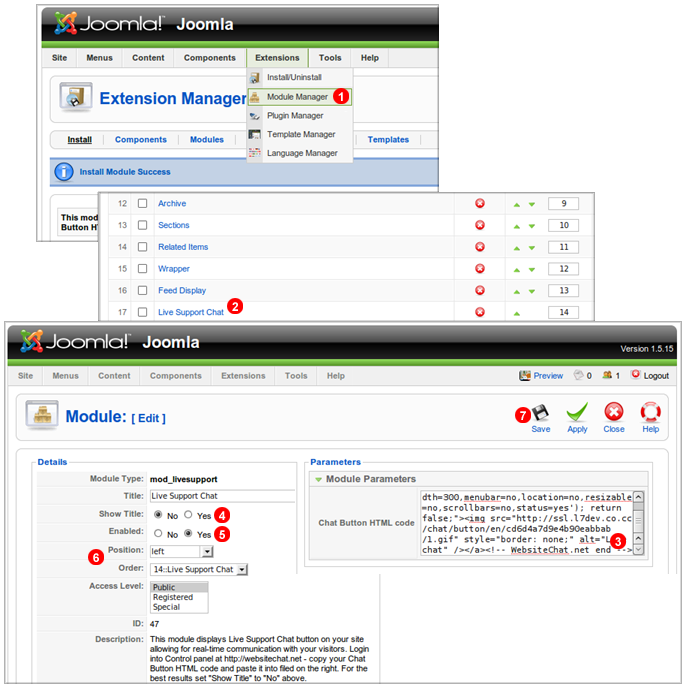 enable joomla chat module