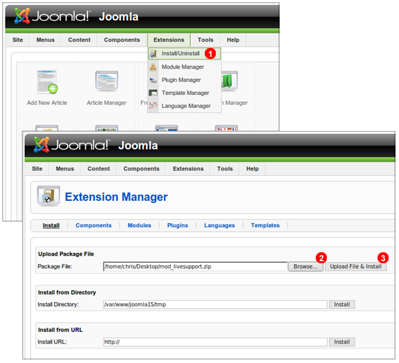 Joomla live chat module installation