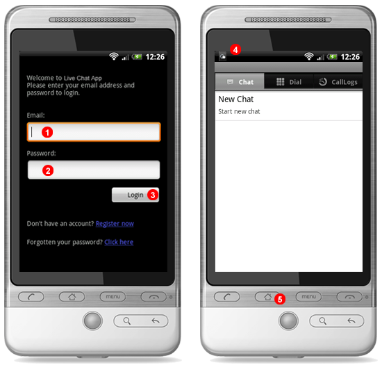 Login into Android operator application