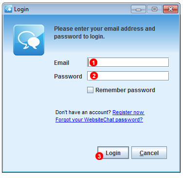 Chat Operator Application login screen