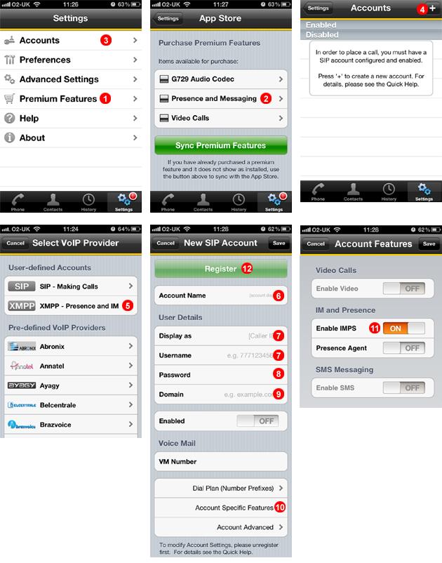 Bria iPhone set up