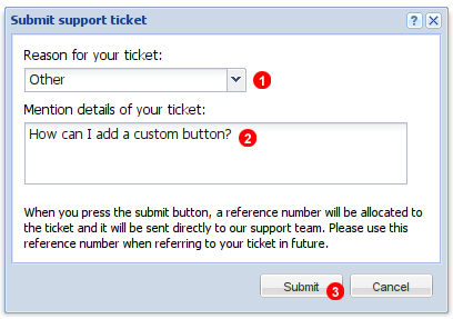 Submit support ticket window