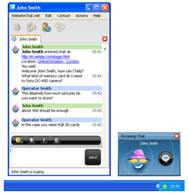 Chat request notification in operating system taskbar