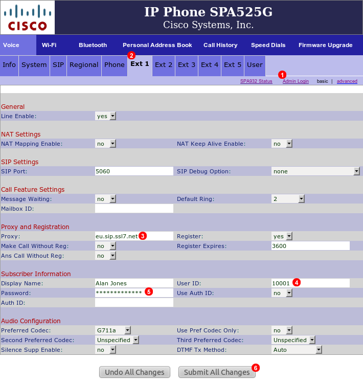 Cisco SPA525G configuration