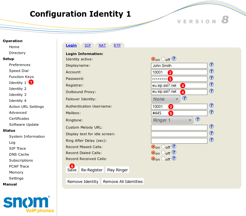 Snom manual configuration