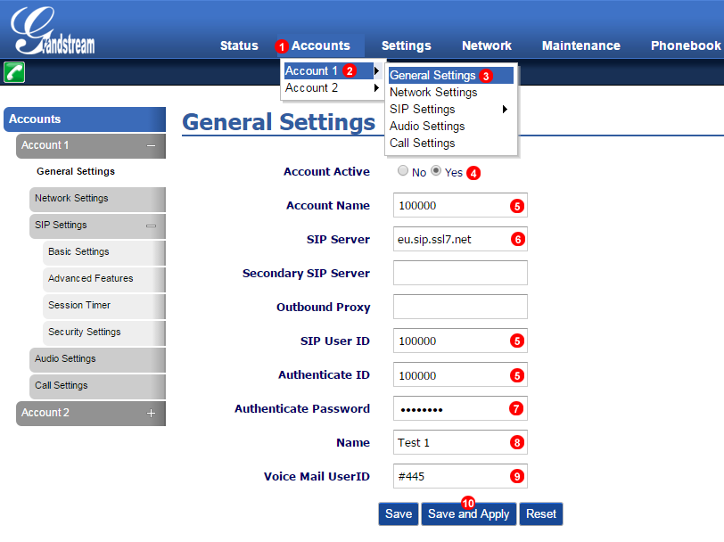 GrandStream GXP 1400 manual configuration
