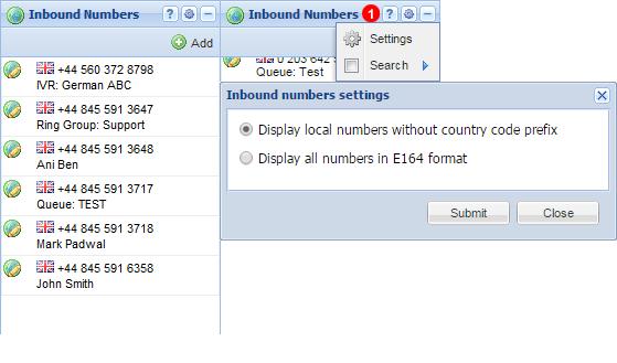 Inbound numbers panel