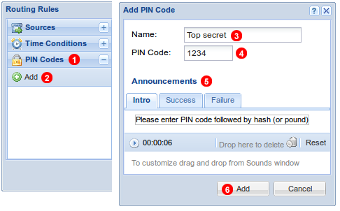 Inbound rules PIN Codes