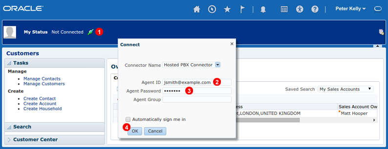 Oracle Sales Cloud CTI connector login