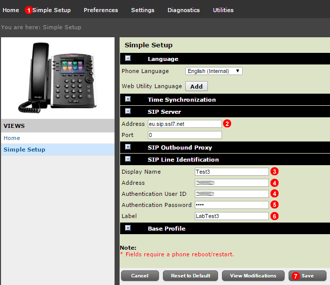 Polycom - Manual account settings