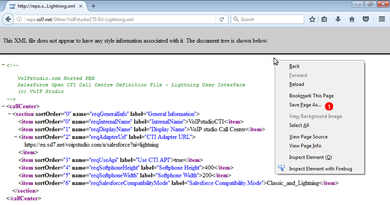 Salesforce CRM Call Centre XML profile