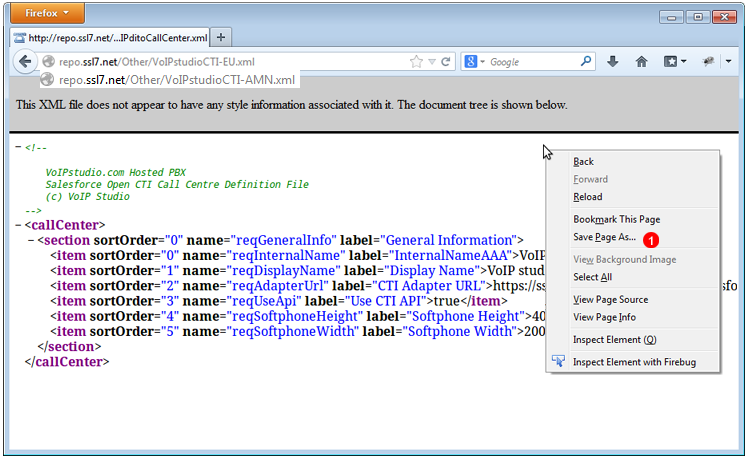 Perfil XML de Call Center para el CRM Salesforce