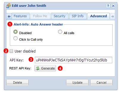 User - Advanced settings