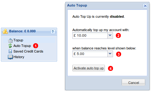 Activate auto Top Up