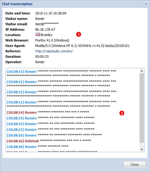 Chats Information Menu