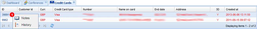 Credit Card panel