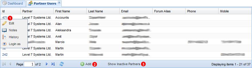 Partner users panel