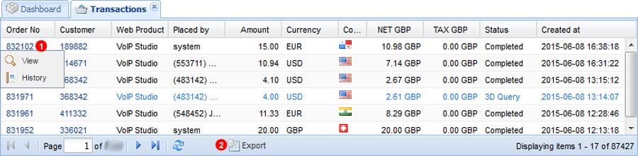 Transactions panel