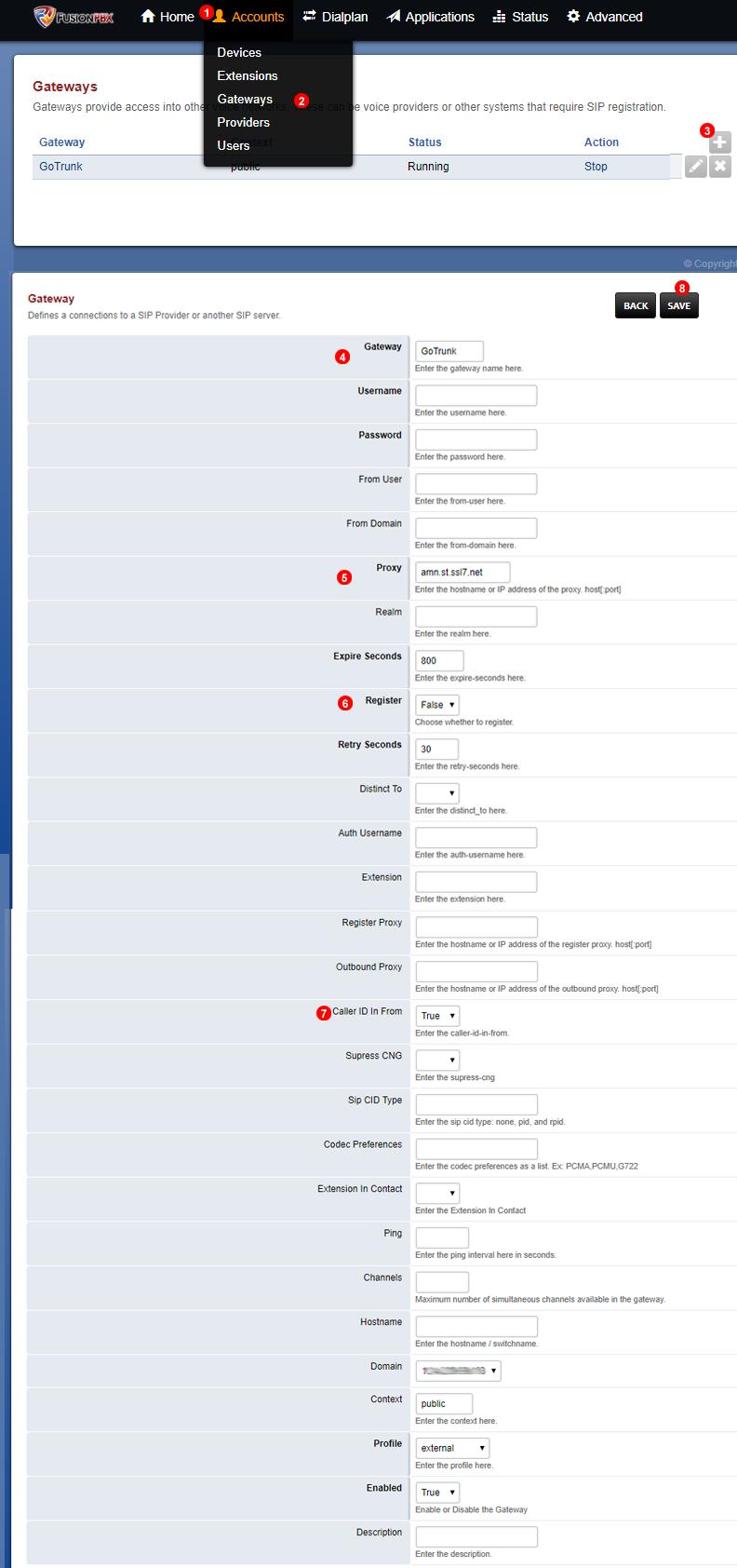 FusionPBX add SIP Trunk - static IP address