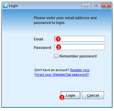 Softphone Application login screen