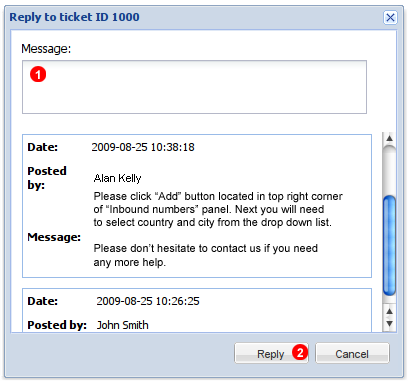 Ticket reply window