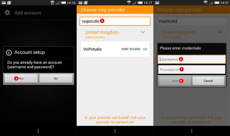 ZoIPer Android Auto account set up