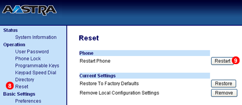 Aastra phone auto provisioning - Reset