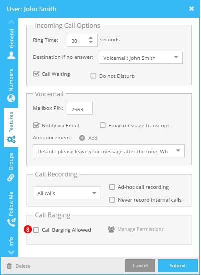 Call Barging user settings