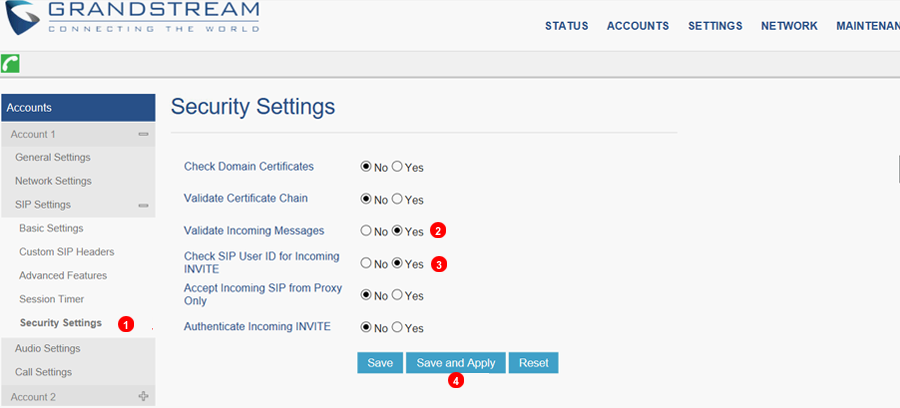 GrandStream Security Settings