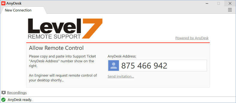Remote support ID
