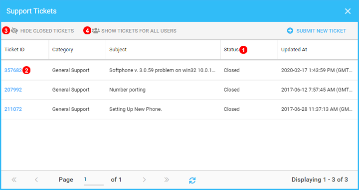 View Support Ticket list