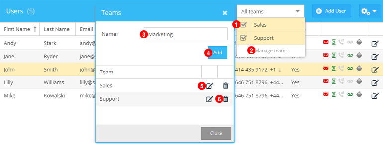 Users Teams Settings