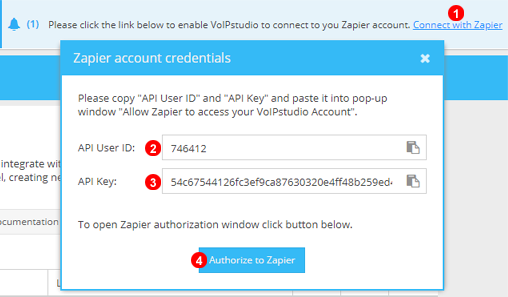 Zapier Authentication Step One