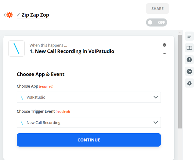 Zapier Step One Selecting Event