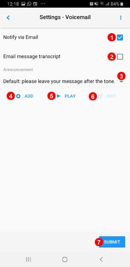 App-Einstellungen Voicemail-Menü