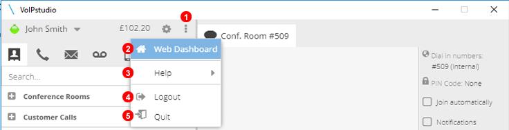 Softphone Options panel