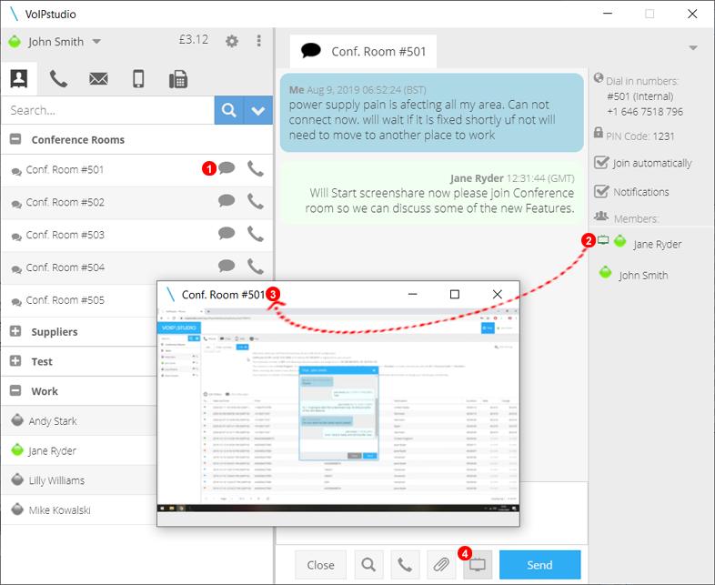 Softphone-Anwendung - Bildschirmfreigabe in Konferenzräumen