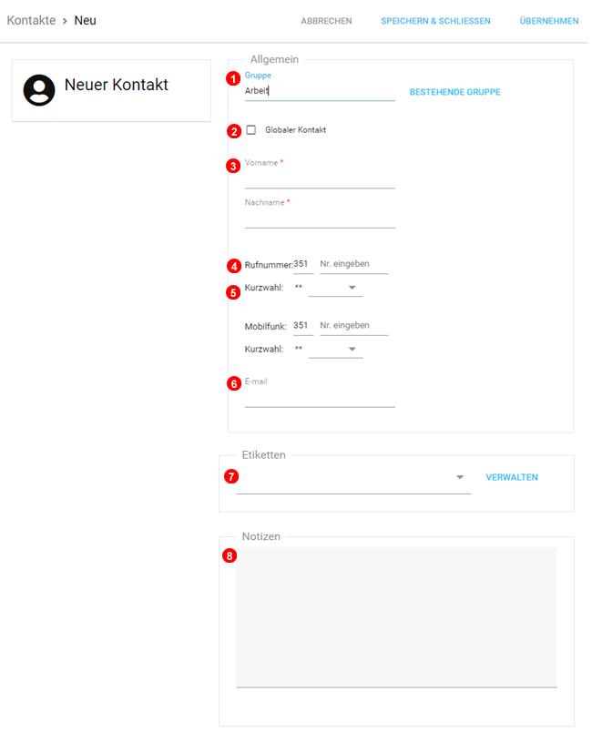 Kontakte hinzufügen