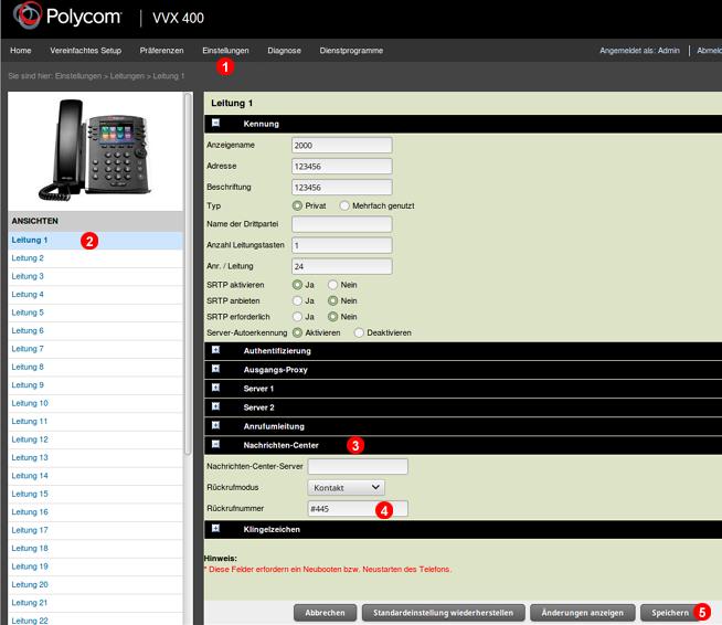Polycom - Voicemail-Nachrichtentaste
