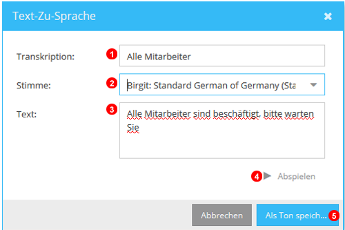 Text-Zu-Sprache Fenster