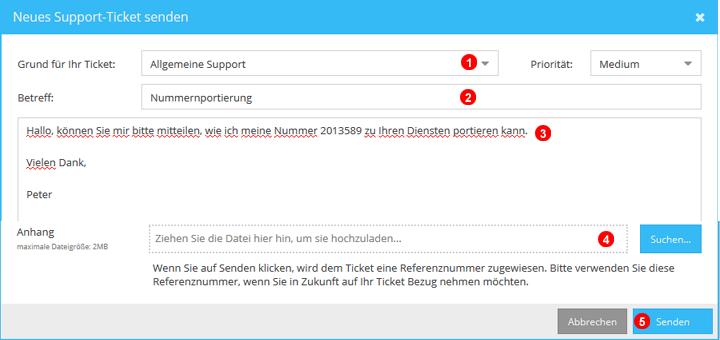 Support Ticket senden