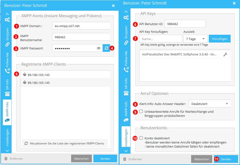 XMPP Info und Erweiterte Einstellungen Panel