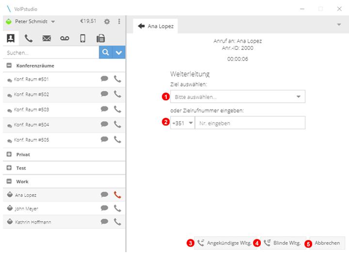 Softphone Anwendung - Anrufweiterleitung