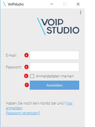 Anmeldung für Softphone-Anwendung