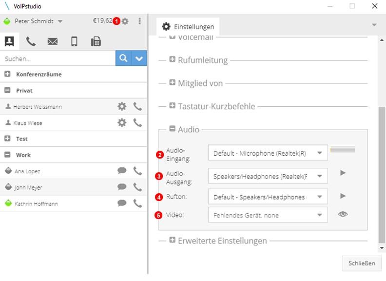Softphone Einstellung Audiogeräte
