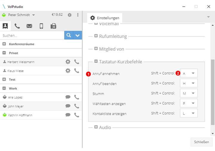 Softphone Einstellung Keyboard Shortcuts